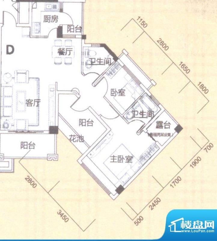 风度广场1栋5-9层D户面积:89.00平米