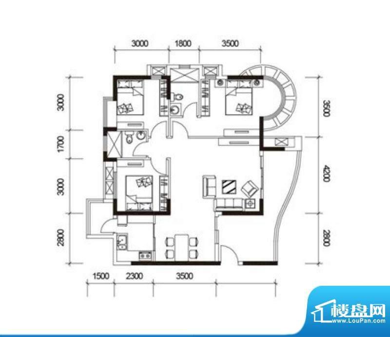 君御海城31、33栋A户面积:108.54平米