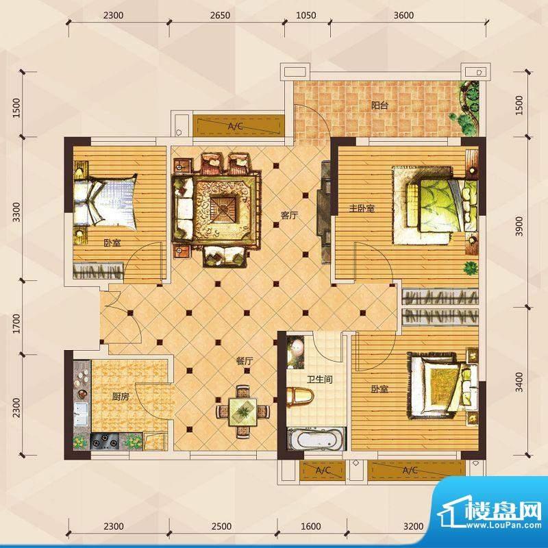 天御尚城1座1幢 03户面积:88.96平米