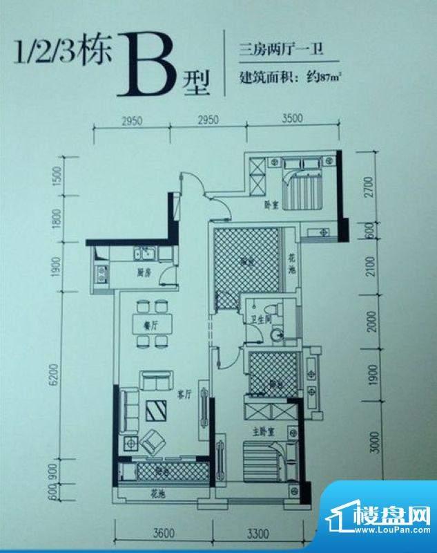 依云曦城1/2/3栋B户面积:87.00平米