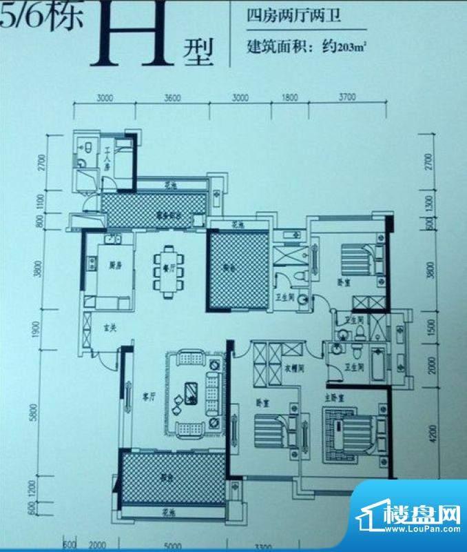 依云曦城5/6栋H户型面积:203.00平米