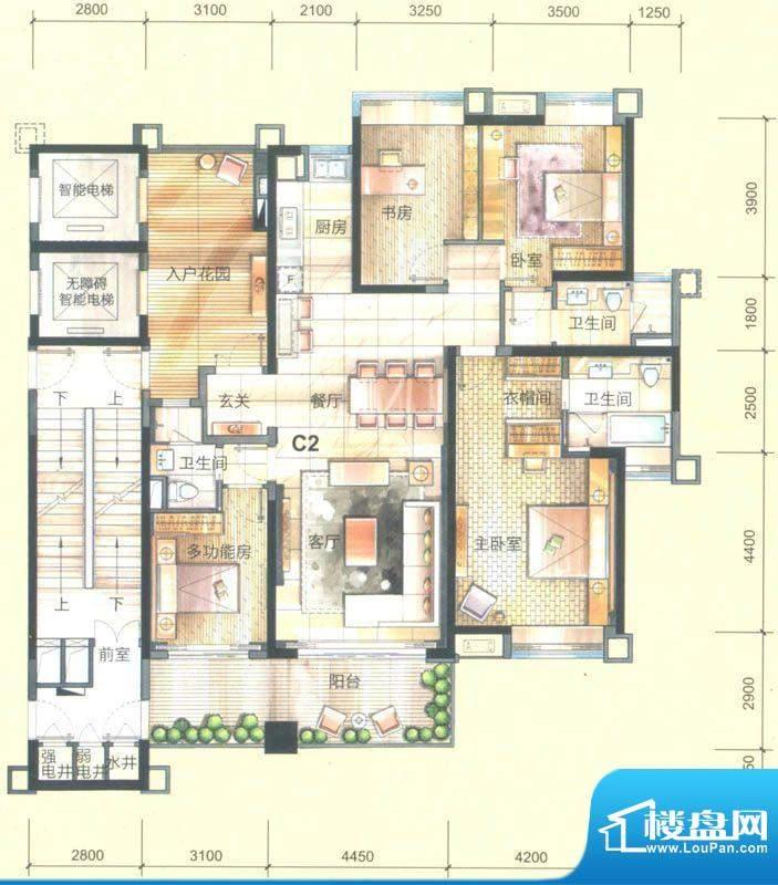 美的御海东郡3座01房面积:175.00平米