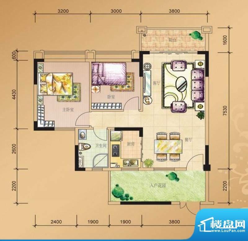 山水凯旋花园二室二面积:0.00平米
