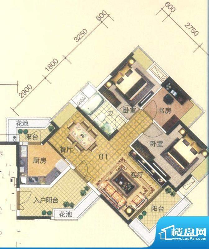 颐澳湾2座01单位 3室面积:91.00平米