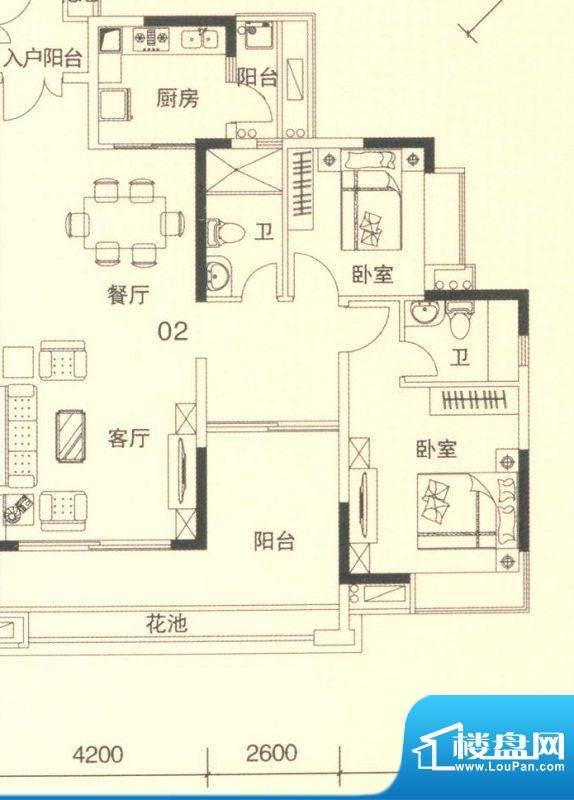 颐澳湾2座02单位 3室面积:112.00平米
