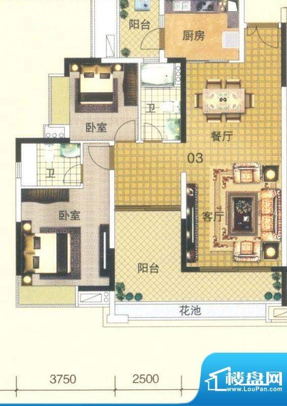 颐澳湾2座03单位 3室面积:107.00平米