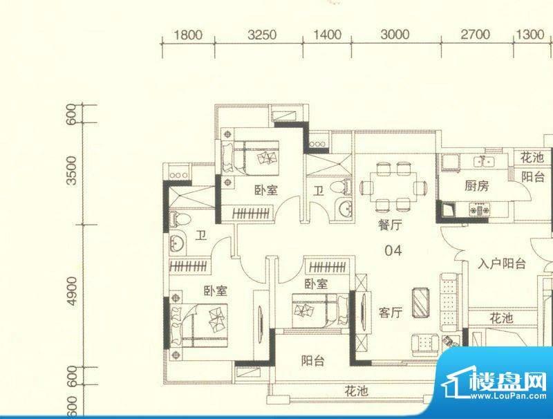 颐澳湾2座04单位 3室面积:107.00平米