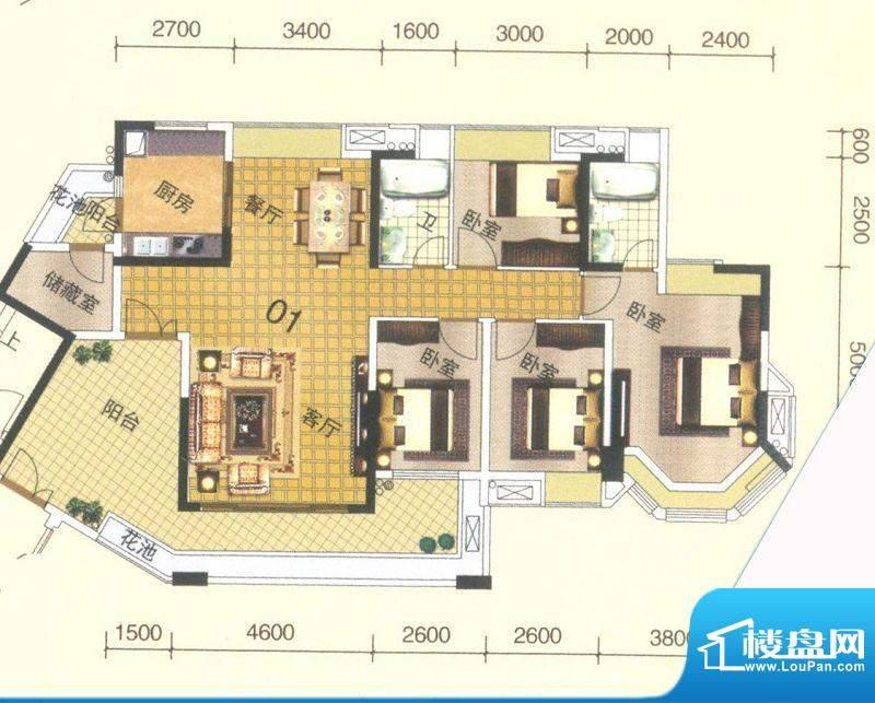 颐澳湾3座01单位 5室面积:142.00平米