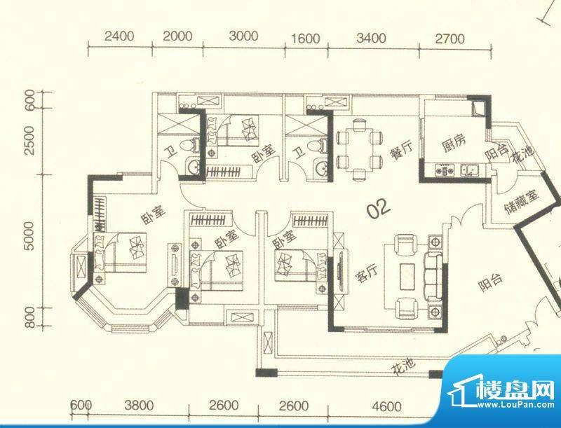 颐澳湾3座02单位 5室面积:142.00平米