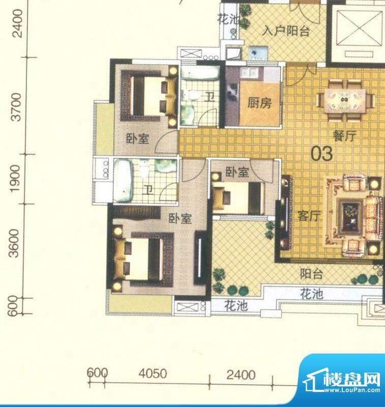 颐澳湾3座03单位 3室面积:110.00平米