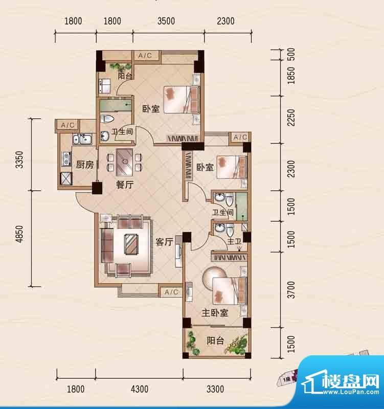 百悦湾1座02单元 3室面积:101.00平米