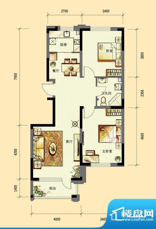 华亿红府住宅B-1户型面积:91.00平米