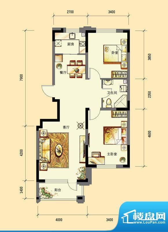 华亿红府住宅B-3户型面积:94.00平米