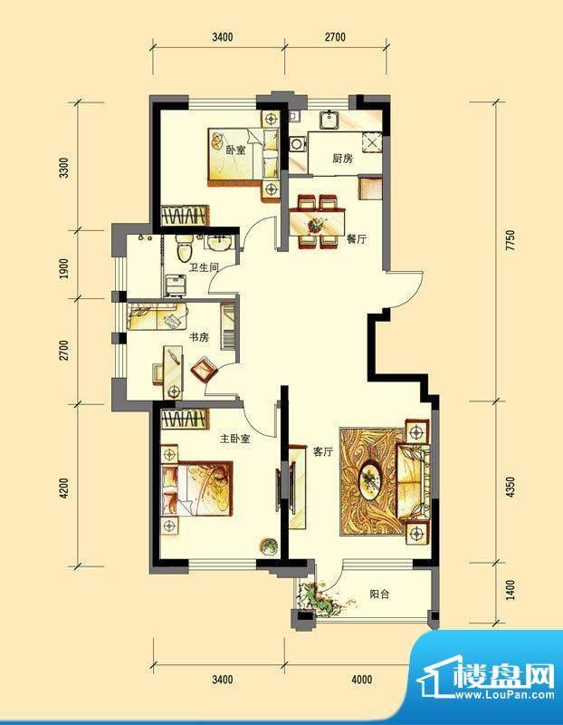 华亿红府住宅B-8户型面积:108.00平米