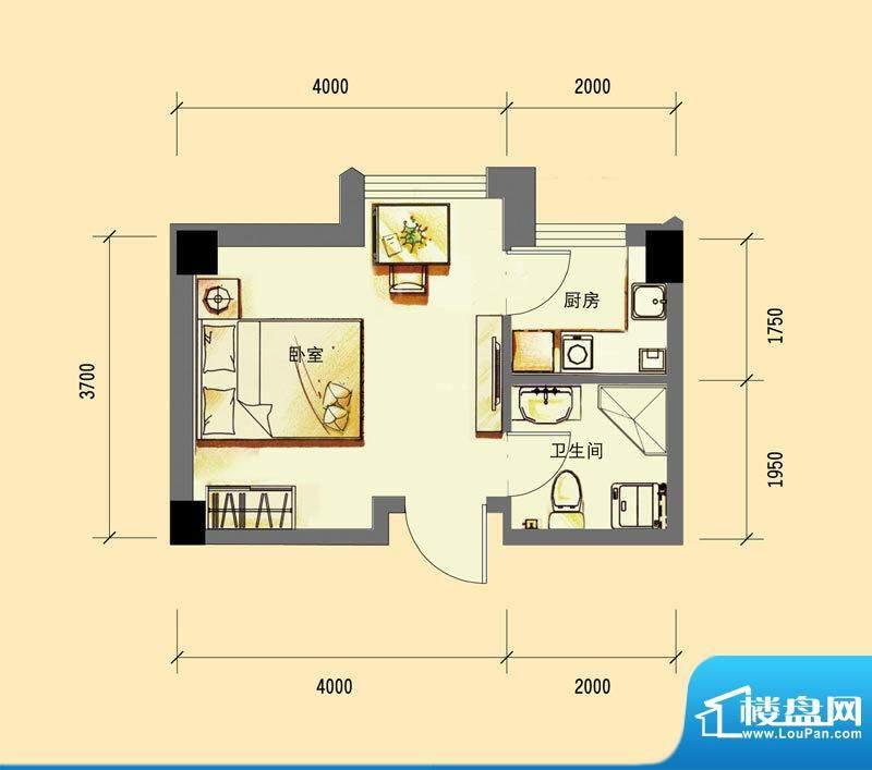 华亿红府公寓A-1户型面积:32.00平米