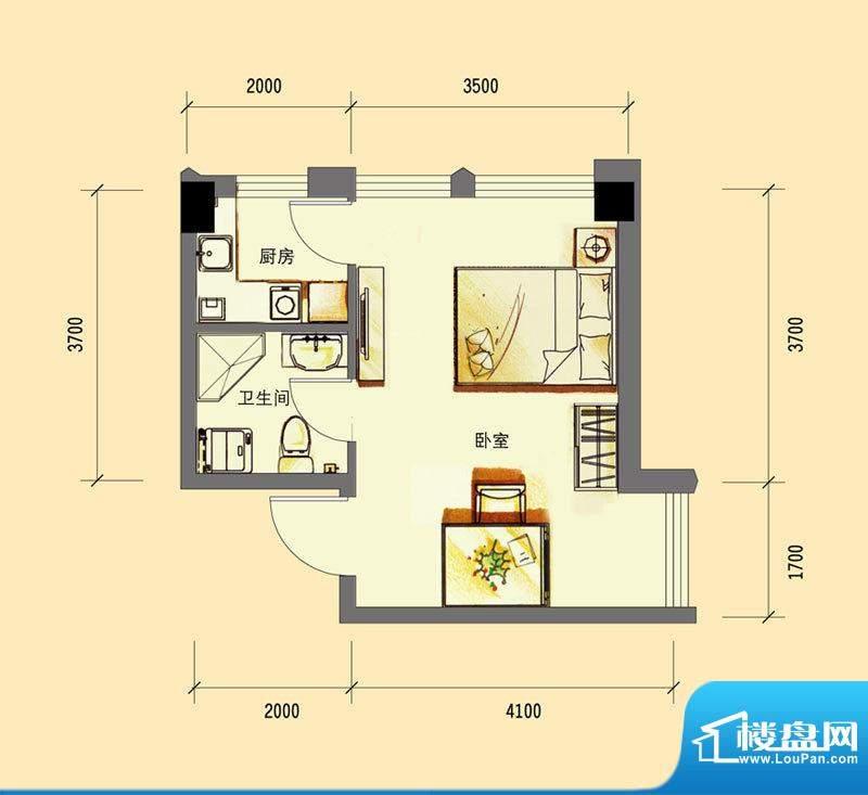 华亿红府公寓A-2户型面积:38.00平米