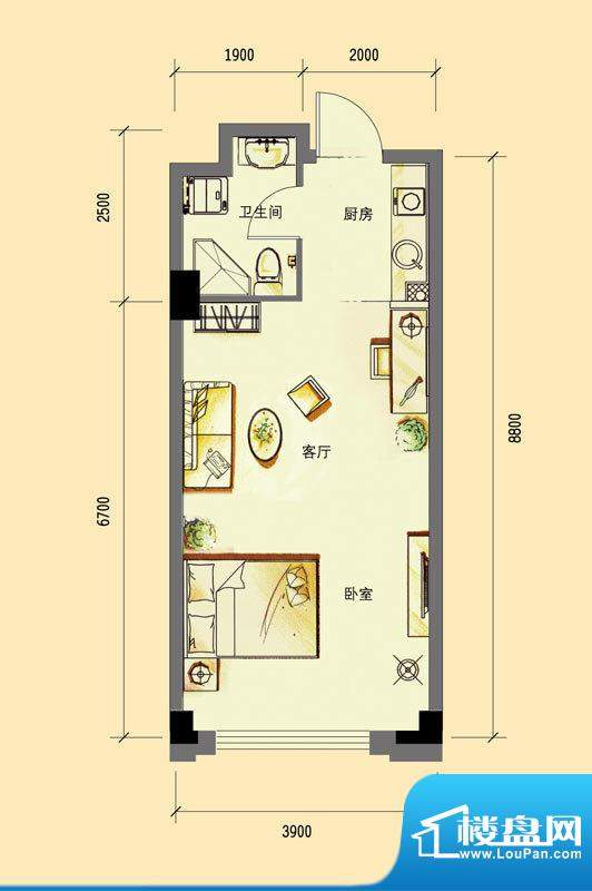 华亿红府公寓A-3户型面积:48.00平米