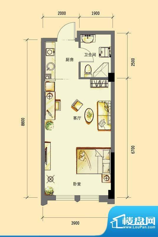 华亿红府公寓A-4户型面积:48.00平米