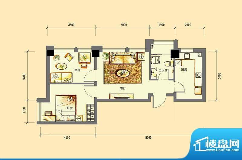 华亿红府公寓A-6户型面积:69.00平米