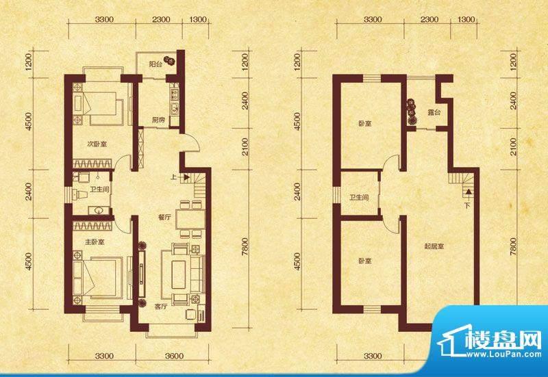 澜山溪谷K6户型 4室面积:137.00平米