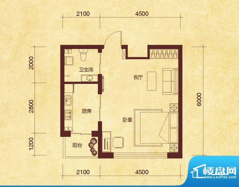 澜山溪谷A户型 1室1面积:47.00平米