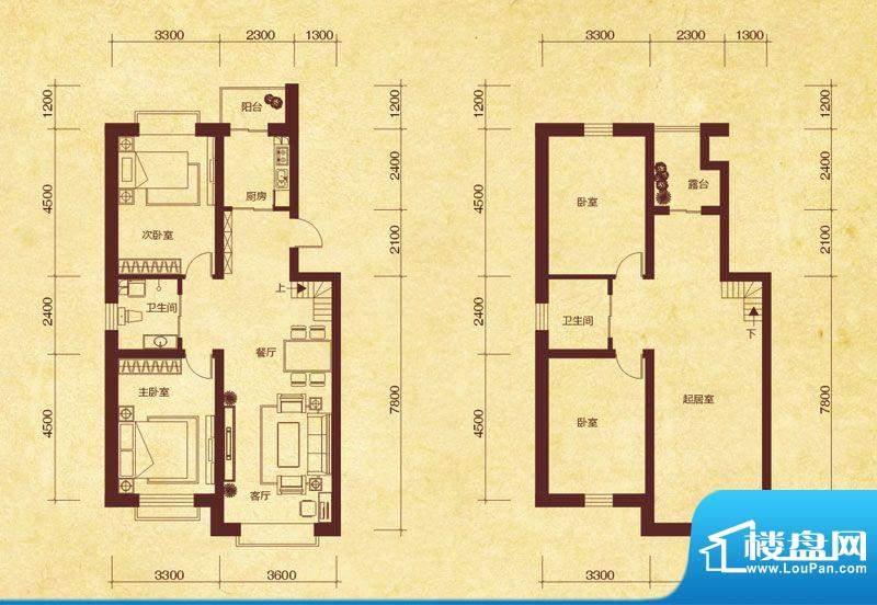 澜山溪谷J3户型 4室面积:137.00平米