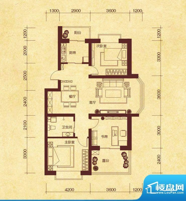 澜山溪谷J4户型 3室面积:115.00平米