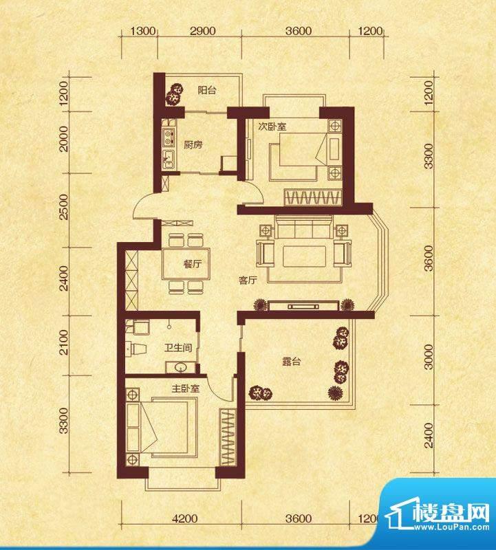 澜山溪谷J5户型 3室面积:115.00平米