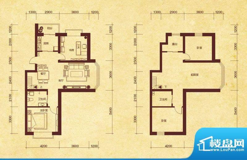 澜山溪谷J6户型 4室面积:151.00平米