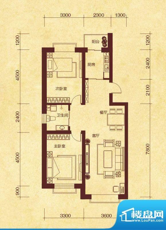 澜山溪谷K户型 2室2面积:95.00平米
