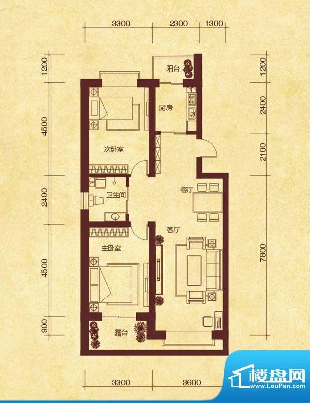澜山溪谷K2户型 2室面积:97.00平米