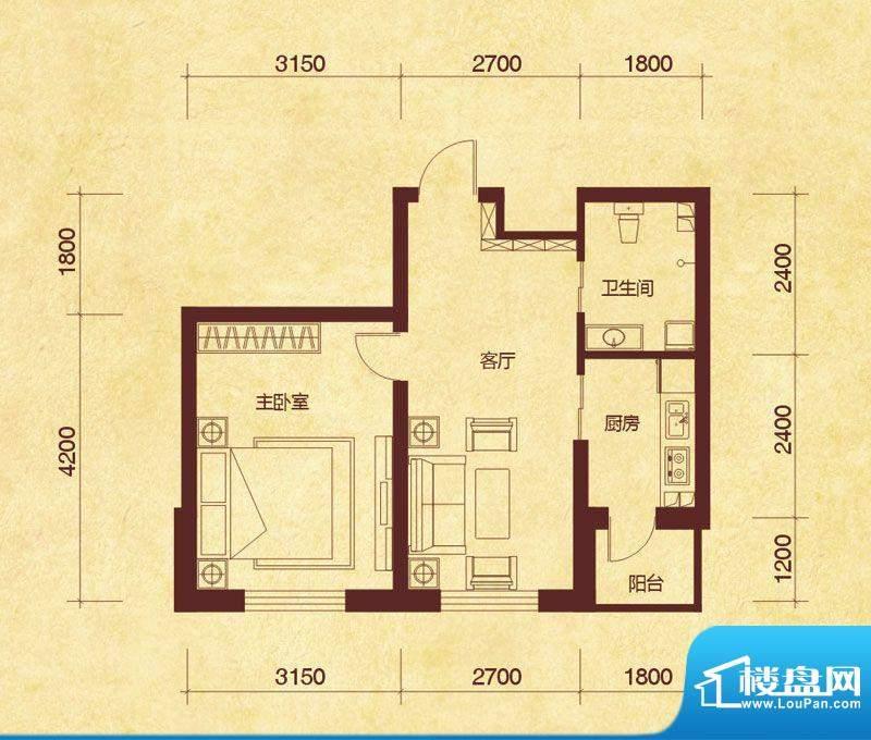 澜山溪谷B户型 1室1面积:48.00平米