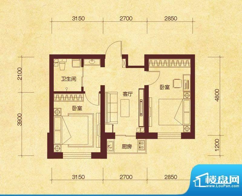 澜山溪谷C户型 2室1面积:59.00平米