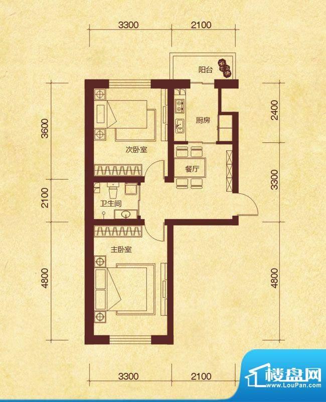 澜山溪谷D户型 2室1面积:58.00平米
