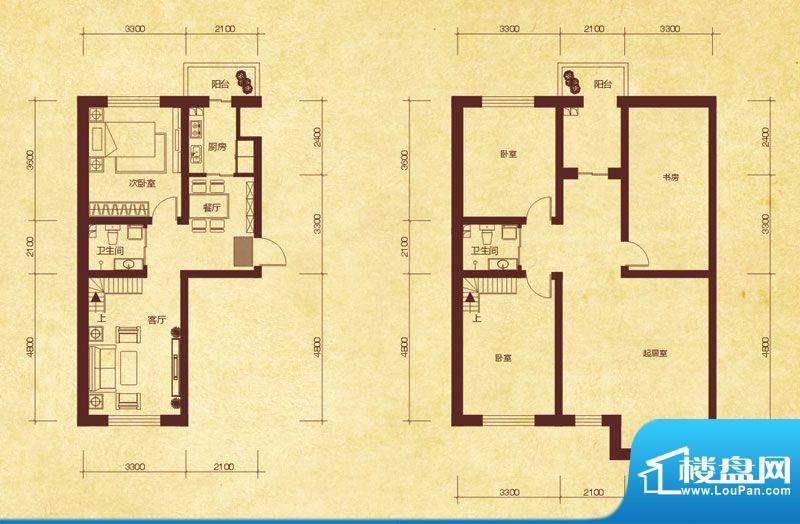 澜山溪谷D6户型 4室面积:92.00平米