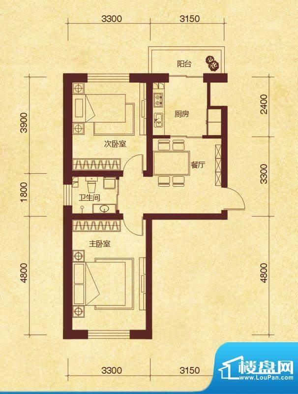 澜山溪谷F户型 2室1面积:67.00平米