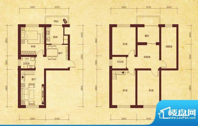 澜山溪谷F6户型 5室面积:105.00平米