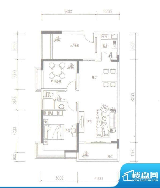 依云水岸E户型 2室2面积:90.00平米