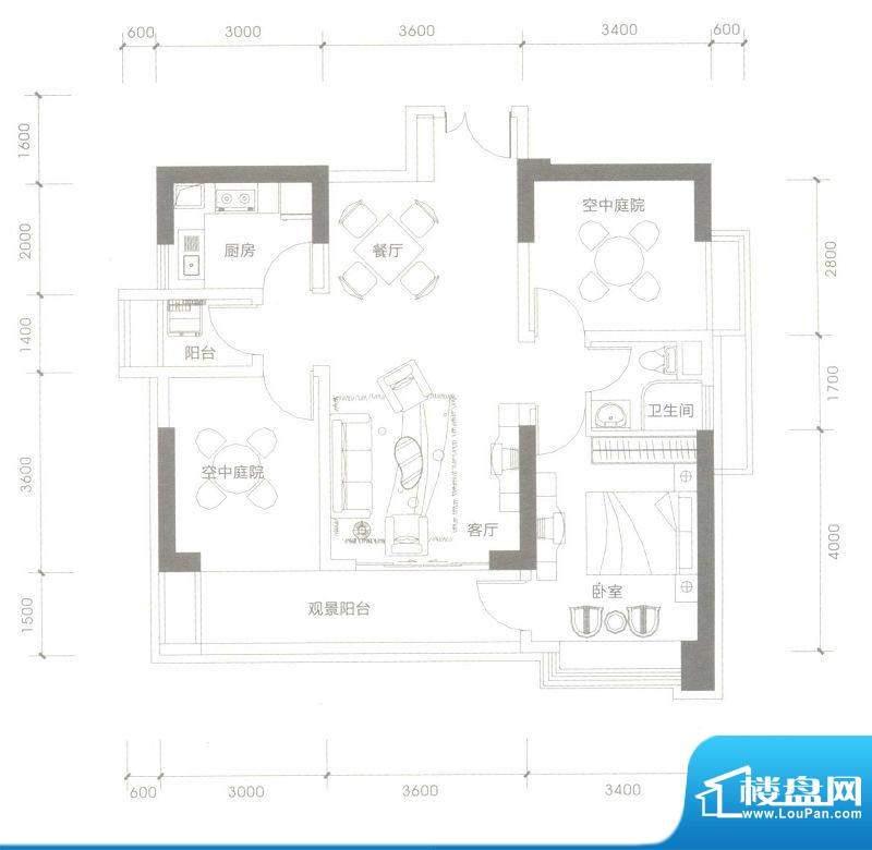 依云水岸B户型 3室2面积:90.00平米