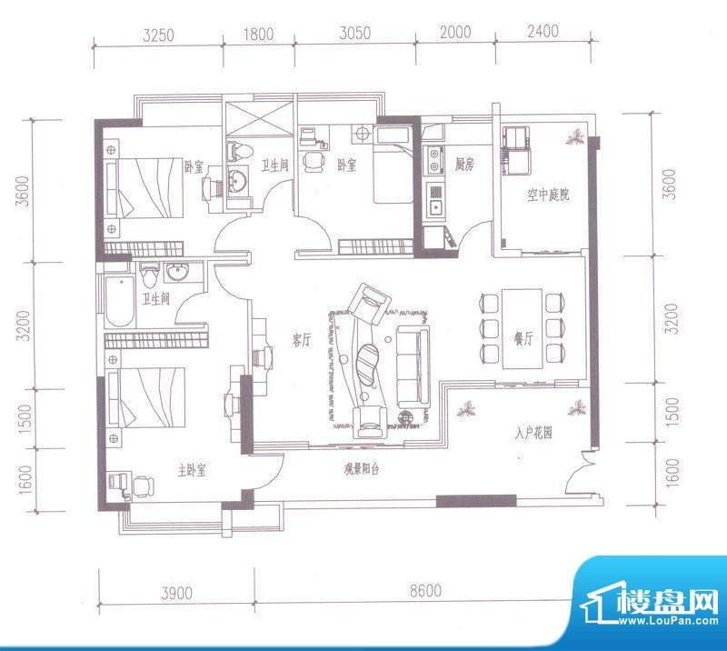 依云水岸D户型 4室2面积:135.00平米