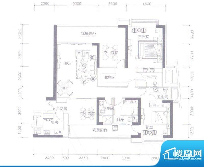 依云水岸A户型 5室2面积:200.00平米