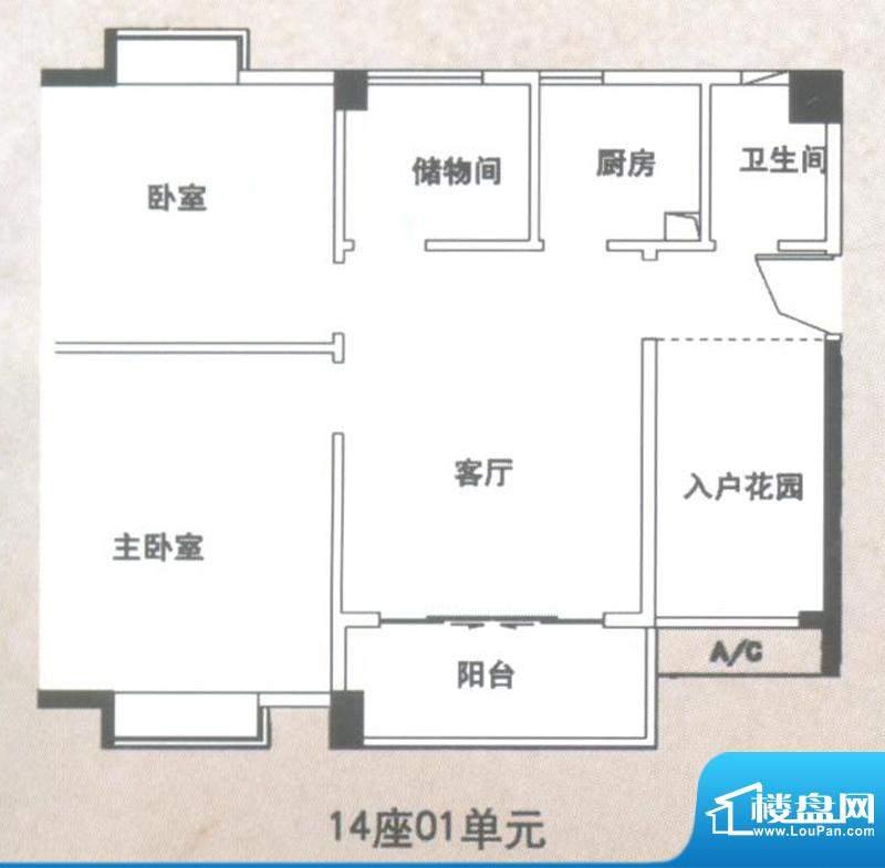 锦隆花园二期14座01面积:83.59平米