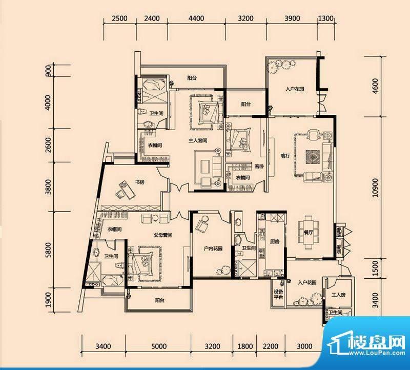 美的君兰江山B2户型面积:308.00平米