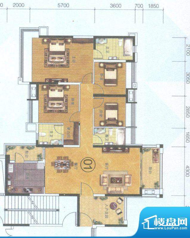 保利中环广场1座01单面积:168.00平米