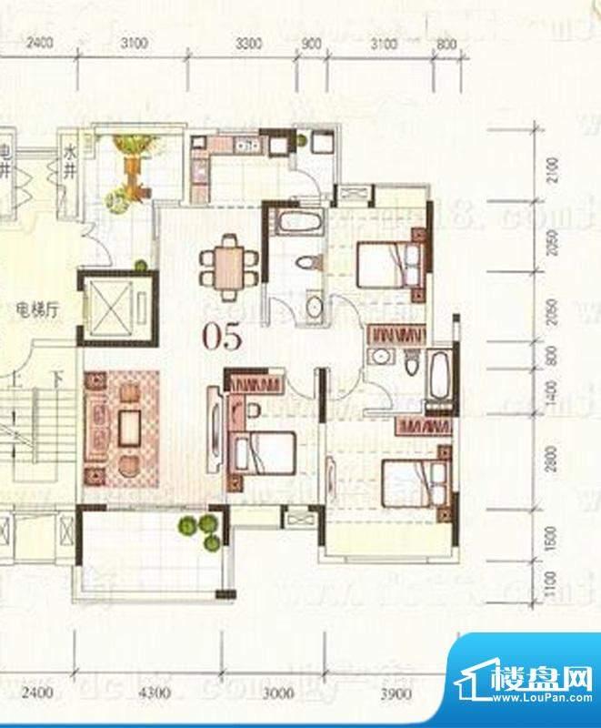 东海蓝湾05单元 3室面积:111.00平米