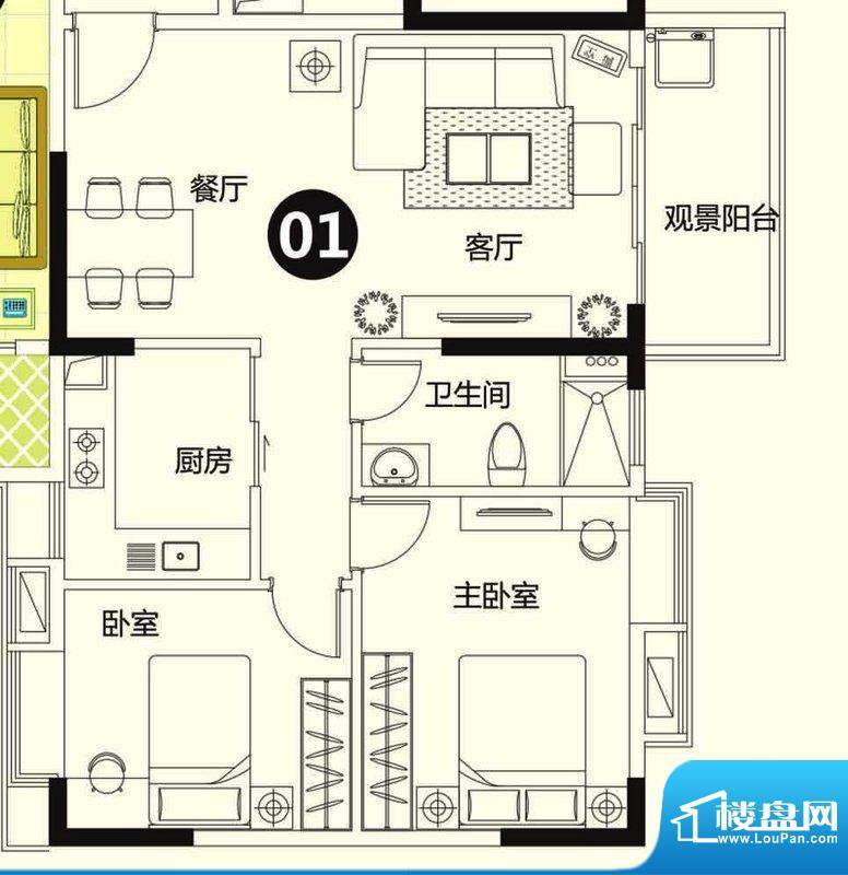 季华金品7座01 2室2面积:87.00平米
