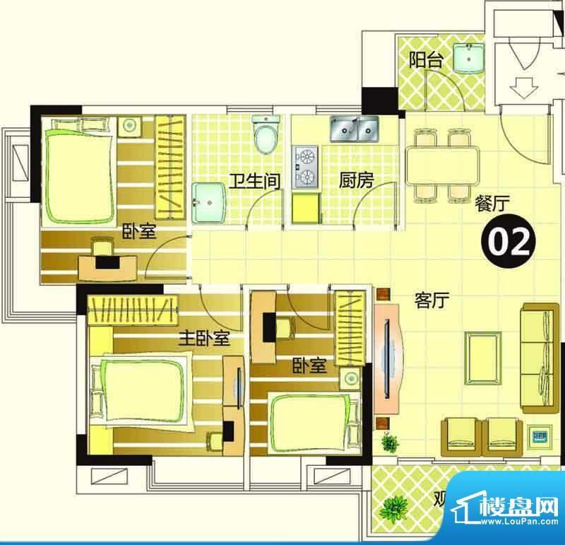 季华金品7座02 3室2面积:75.00平米