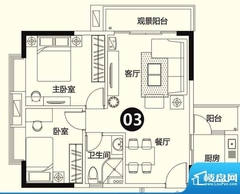 季华金品7座03 3室3面积:75.00平米