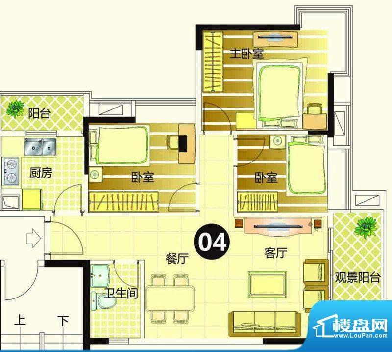季华金品7座04 3室2面积:89.00平米