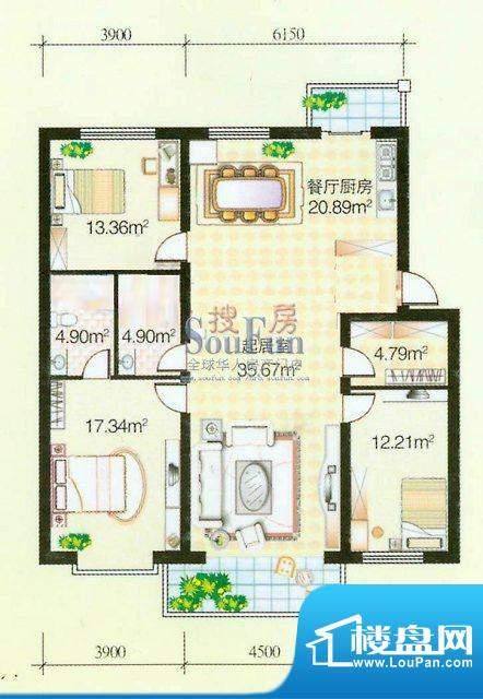 日高卡卡幸福里 3室面积:114.00平米